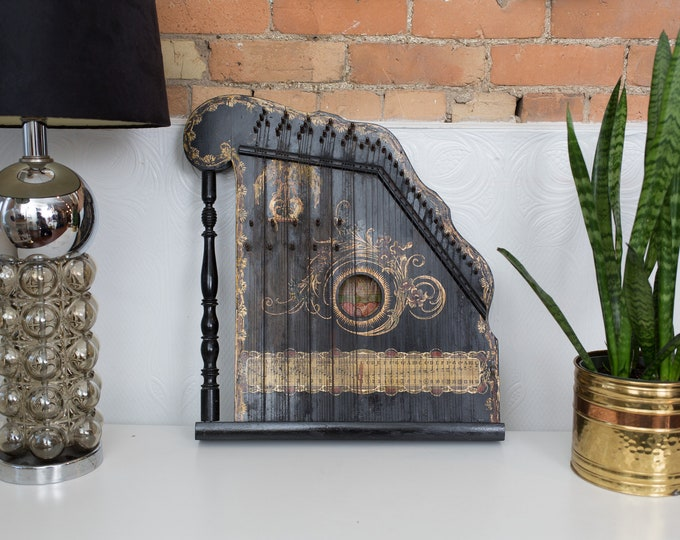 Antique Concert Harfen - Black and Gold Zither Harpe - Folk Musical Instrument