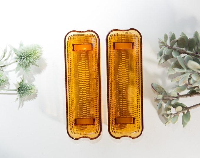 Vintage Amber Glass Corn on the Cob Holders