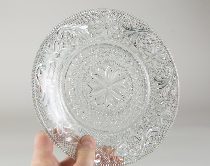 2 Indiana Sandwich Pattern Plates -Vintage Glass Plates -Clear Depression Glass Ornate Dinner Plates -Early Century Decor - 1930s Home Decor