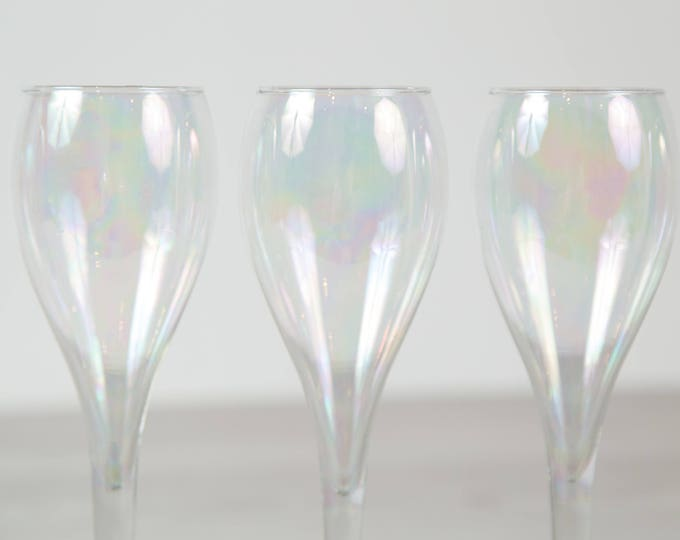 7 Vintage Wine Glasses - Soap Bubble Stemware - Dichroic Barware Glassware - Carnival Glass - Iridescent Wine Glasses