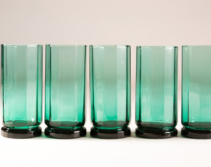 5 Decagon Glasses - 14oz Vintage Set of Green Tumblers - Geo Barware Water Glasses - Retro Geometric Drinking Glasses