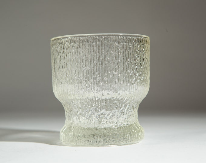 Vintage Ice Textured Glass - Jeanette Finlandia Frosty Scandinavian / Finnish Style Frosted Cocktail Glass - Mid Century Modern Ice Design