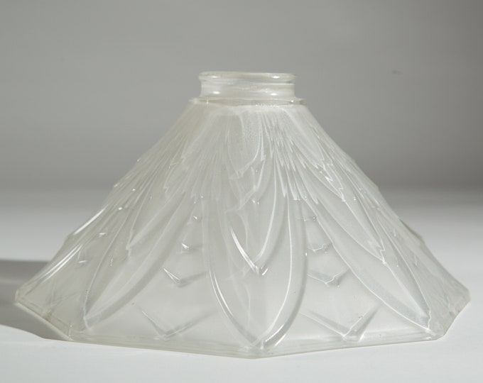 Vintage Holophane Lamp Shade - Art Deco Octagon Shaped Tempered Light Pendant Fixture Clear Glass Shade - Mid Century Modern Pendant Shade