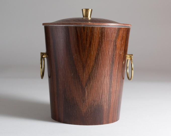 Vintage Wood Ice Bucket - Wood Grain Barrel with Brass Handle and Rings - Bucket with Lining and Tongs - Mid Century Modern Rustic Barware