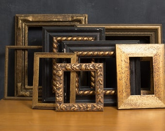 8 Vintage Gold Frames - Metallic Coloured Rustic Ornate Rectangle Wood Frame for Prints, Artwork, Painting Pictures, Mirror