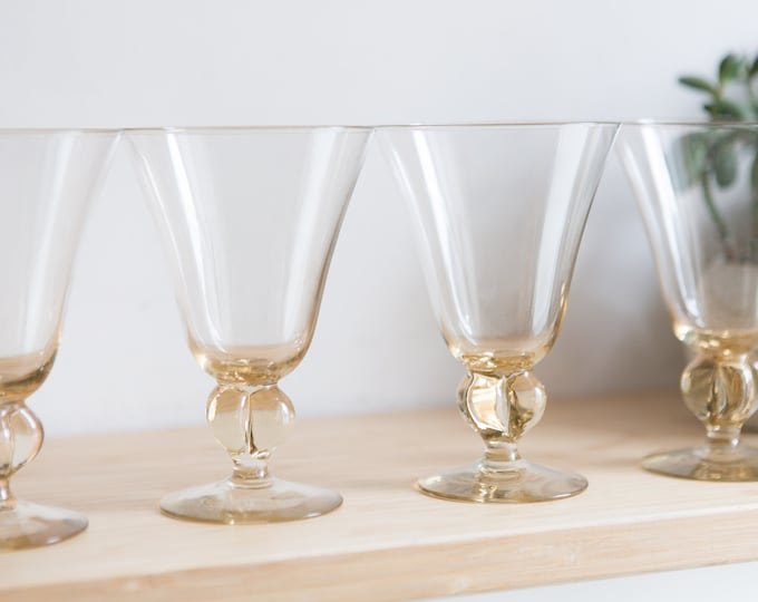 4 Cocktail Glasses - Honey Coloured Stemware with Clover Stem - 8 ounce Handblown Amber Glass Stemware