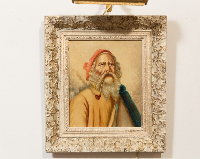 Original Oil Painting of Man's Face - White Bearded Old Male Portrait Smoking Pipe and Red Hat  - Rogue Santa Claus