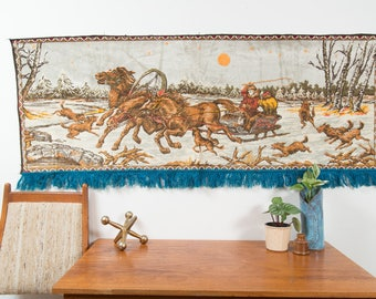 Vintage Horse Tapestry Wall Hanging / 1970's Mid Century Modern Bohemian Landscape Horse and Buggy Winter Scene Wall Art with Fringe