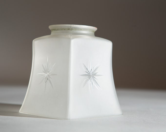 Vintage Glass Lamp Shade - Frosted Square Shaped Pressed Glass Pendant Chandelier Shade - Country Farmhouse Sconce Fixture Lamp Lighting