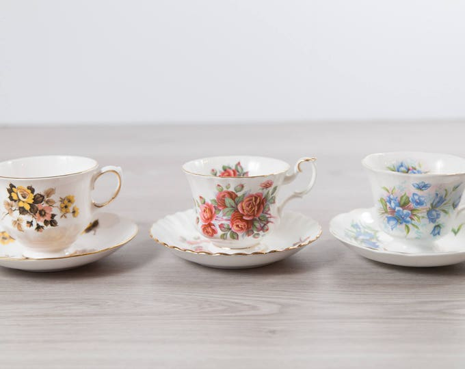 Vintage Teacups - Set of 3 Tea Cups and Saucers with Floral Pattern - Flowers Bone China - Prince Albert and Queen Anne - Centennial Rose