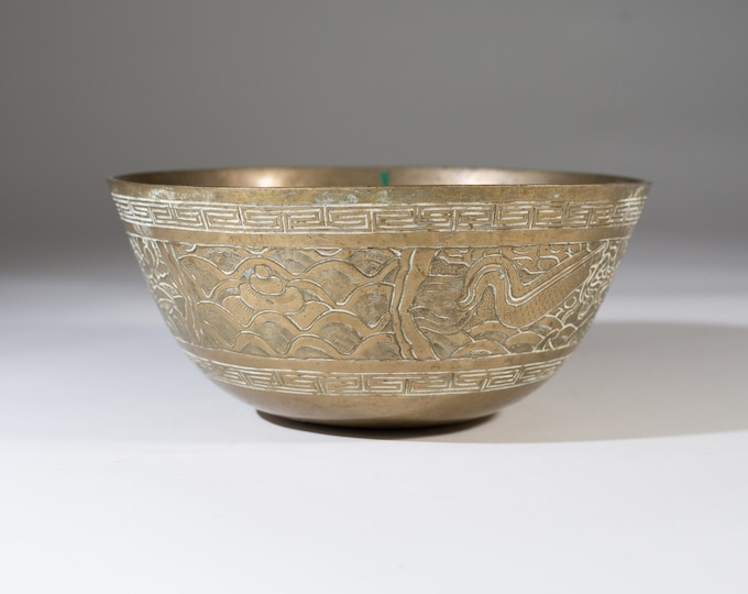 Brass Buddha Bowl - Large Round Asian Hand Decoroated Singing Bowl