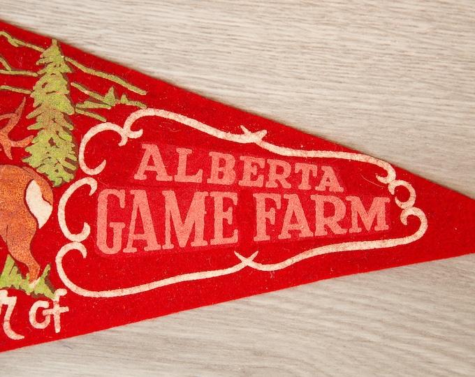 Alberta Game Farm, Canada Pennant - Vintage Canadian Felt Souvenir Hanging Triangle Shaped Wall Decor - Boys Room Wall Hanging