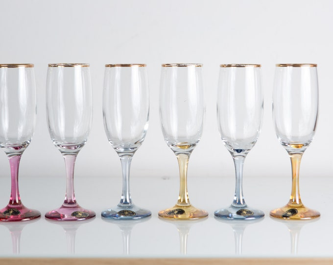 6 Vintage Champaign Flutes with Colorful Stems - 6oz New Year's Eve Party Celebration Glassware - Liquor Stemware / Mother's Day Barware