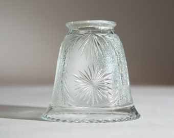 Vintage Glass Lamp Shade - Clear Bell Shaped Pressed Glass Pendant Chandelier Shade - Country Farmhouse Sconce Fixture Lamp Lighting Shade