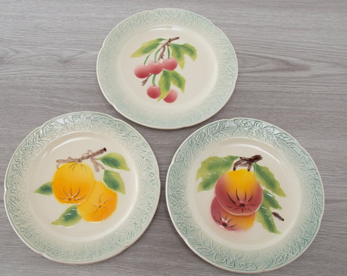 St. Clements Majolica French Side Plates - Set of 3 - Orange, Peach and Cherry Fruit Design