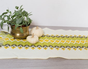 Vintage Table Runner - 1960's Mid Century Modern Green and Yellow Striped Floral Danish Scandinavian Style Fabric Folk Geometric Tapestry