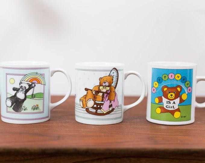 Vintage Bear Mugs - Set of 3 Collectible Ceramic Coffee or Tea Mug with Bear Imagery - Teddy Bear Feet Family and Birthday Girl Mug