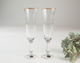 Vintage Champaign Flutes - Ornate Etched Glasses with Gold Rims - Mid Century Modern Victorian Style Liquor Stemware / Mother's Day Barware