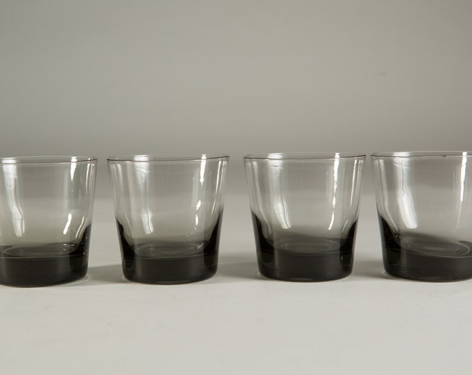 4 Vintage Cocktail Glasses - 8oz Handblown Grey Smokey Lowball Tumbler Glasses - Mad Men Retro Barware / Glassware - Smoke Gray Glass