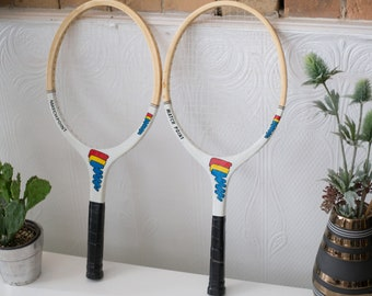 Vintage Wood Tennis Racquets - Pair of Match Point Wooden Rackets - Retro Sports Decor - Boys Room - Cooper Tournament Racket