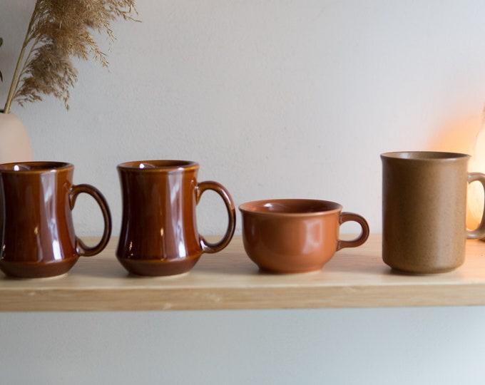 4 Ceramic Mugs - Brown Vintage Mismatched Coffee or Tea Mugs