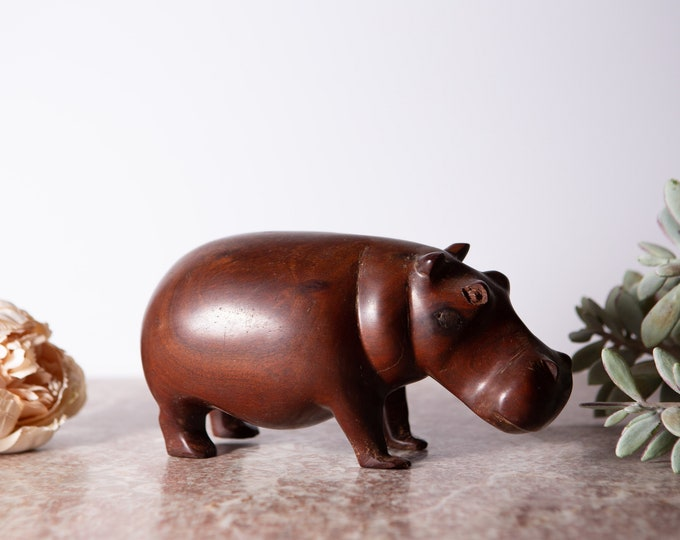 Vintage Wood Hippo - Hand-carved Dark Mahogany Wood Boho Mid Century Modern Decor - African Safari Chic hippopotamus Decor