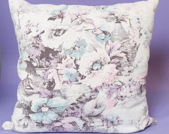 Vintage Floral Pillow / 16x16 Pastel Purple Decorative Throw Pillow