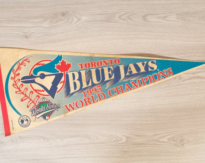 Toronto Blue Jays Pennant - Vintage 1993 World Series Felt Souvenir Hanging Triangle Shaped Sports Theme Wall Decor - Boys Room Wall Hanging