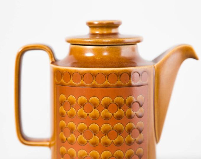 Vintage Amber Teapot / Hornsea England 1975 Ceramic Boho Earthtone Like New Tea Pot with Ornate Geometric Circle Design