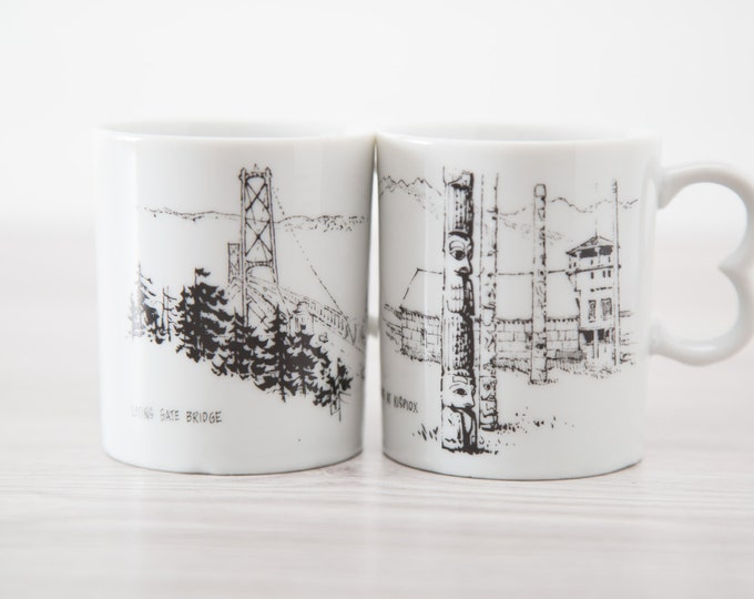 Pair of British Columbia Souvenir Mugs - Totems at Kispiox and Lions Gate Bridge / Home Oil Stations / Made in Japan / Heart Shaped Handles