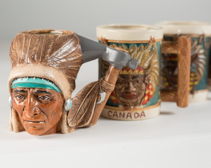 Rare Vintage Native American Indian Chief Headdress Mugs / Made in Japan / Indigenous memorabilia First Nations Aboriginal Canadian Souvenir