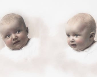 Vintage Baby Face Photo / Small Framed Baby Expression Altered Picture Panoramic W.B McAdam