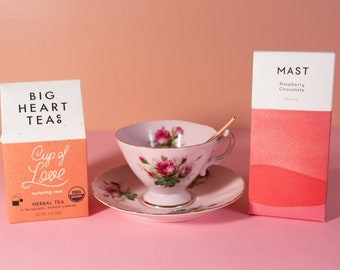 Pretty in Pink Tea Gift Box Set - Vintage Westville Teacup, Gold Spoon, Big Heart Tea Co, MAST Chocolate Bar - Mothers Day Gift for Mom