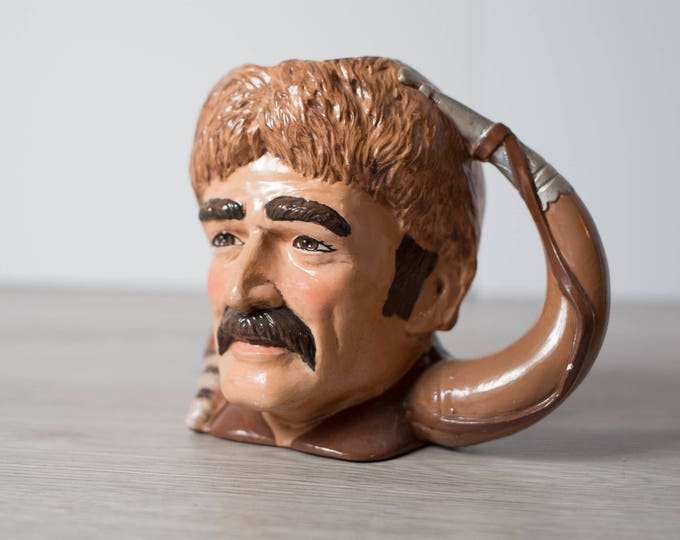 Fur Trader Mug / Canadiana Mug with Man Wearing Raccoon Hat with Tail and Moustache