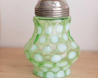 Vaseline Glass Sugar Shaker - Antique Uranium Glass Collectible Northwood Spotted Opalescent Victorian Lidded Glass