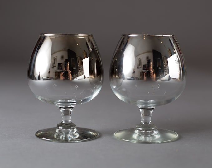2 Mirrored Brandy Glasses - 10oz Vintage Dorothy Thorpe Style Grey Metallic Bar Cocktail  (MCM Mad Men 1960's Style Liquor Barware Stemware)