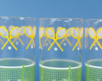 Tennis Drinking Glasses - 4-Piece Set of Yellow and Green Sporty Cocktail Bar Glasses - Mother's or Father's Day Gift Sports Team Racquet