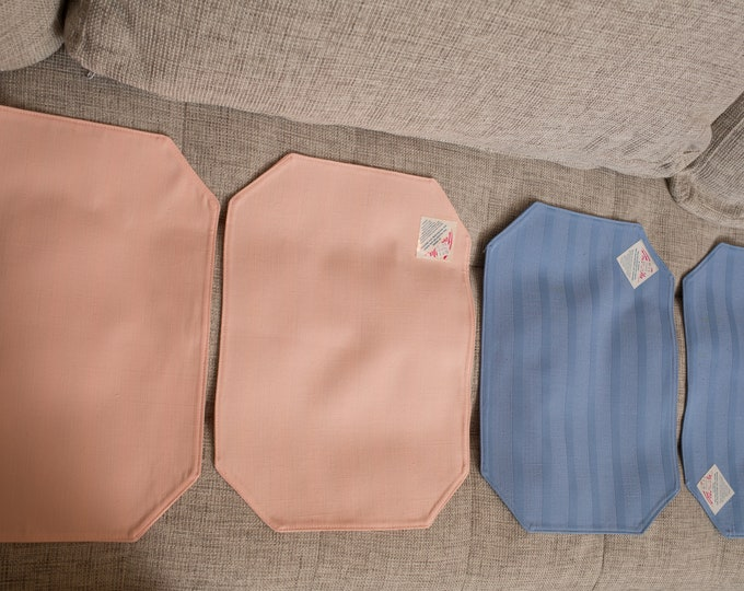 4 Vintage Placemats - 1980's Deadstock Geometric Shaped Fabric Placemats - retro Pink and Blue Trendex place setting mats