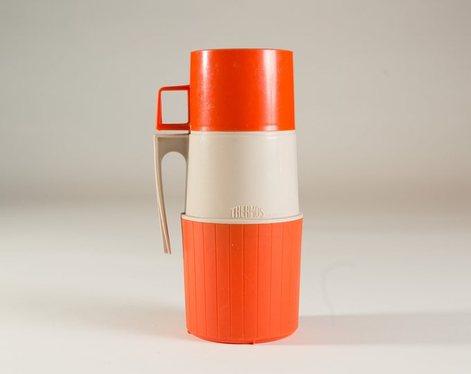 vintage thermos vacuum bottle - Orange Colored Dipped Glass Lined Vacuum Flask Coffee Thermos - Camping Travel Hot Chocolate Thermos -