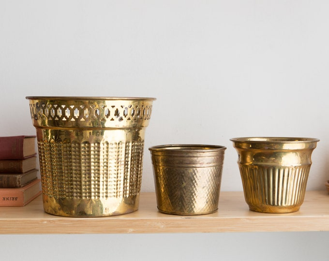 3 Vintage Brass Planters - Round Metal Brass Pots for Succulents, Cactus, Plants, Herbs, etc - Gold Coloured Bowl