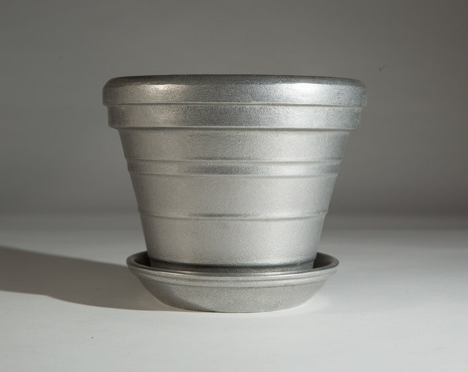 Vintage Aluminum Planter - Handcast in the USA  from Recycled Aluminum - Pot for Cactus, Plants, Herbs - Industrial Boho Minimalist Decor