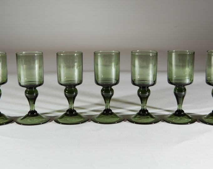 7 Vintage Green Stem Aperitif Glasses - 2oz Handblown Southwestern Desert Style Cocktail Stemware Glassware