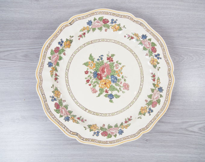 Vintage Floral Plate - 1940's Royal Doulton The Cavendish Ornate Floral / Flowers Ceramic Creamy White Antique Dishware - Made in England