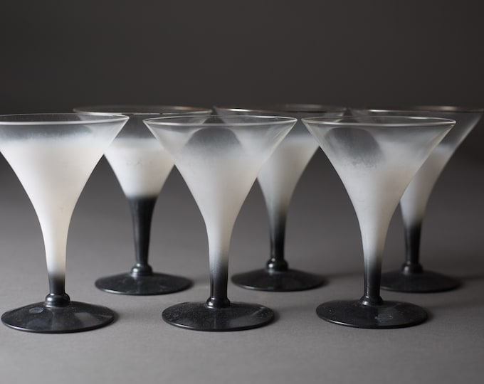 Martina Glass Set of 6 - 4oz Black and White Ombre Mini Vintage Martini Glasses - Mid Century Frosted Cocktail Glasses with Gradient