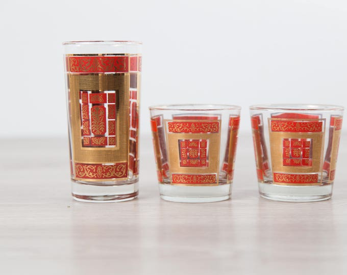 Gold Bar Glasses / 3-Piece Set of Gold and Red Detailed Vintage Cocktail Glasses / Elegant Geometric Ornate Barware Highball Lowball