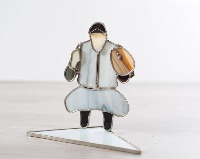 Stained Glass Inuit Art / Arctic Drumming Man