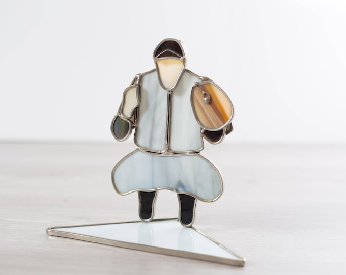 Stained Glass Inuit Art / Arctic Drumming Man / Baseball Catcher