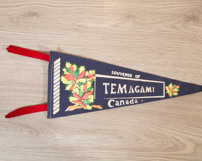 Temagami, Canada Pennant - Vintage Canadian Felt Souvenir Hanging Triangle Shaped Wall Decor - Boys Room Wall Hanging