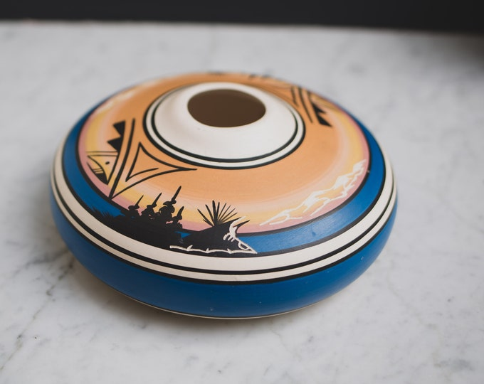 Vintage Mexican Pottery Vase - Hand Painted UFO Disc shaped Blue Terracotta Bubble Vase with Indigenous Aboriginal Native Dessert Scene