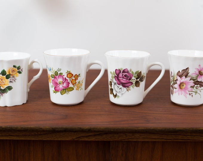 Vintage Floral Mugs with Flower Design - Made in England Bone China - Royal Grafton and Other